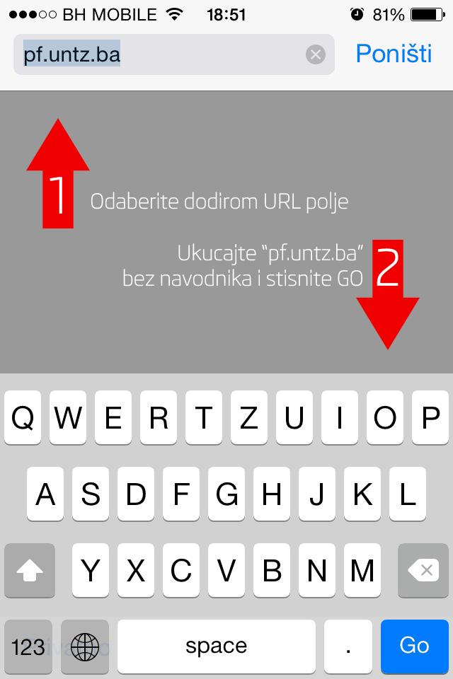 Korak 1: Otvorite Safari pretraživač i unesite adresu naše web stranice