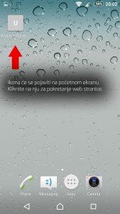 Korak 4: Pojaviti će se ikona na početnom ekranu. Klikom na tu ikonu pokrećete web stranicu.